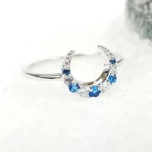 {The Diana Moon Goddess Ring} Sterling 925 Blue CZ